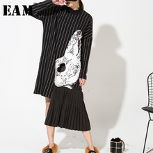 [EAM] 2018 New Spring High Collar Long Sleeve Black Striped Stitching Printed Irregular Hemline Dress Women Fashion Tide HA06981(China)