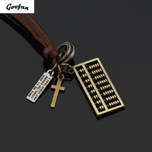 2017 New Hiphop Goofan Abacus Pendant Necklace Alloy Fashion Jewelry For Men Women Gift(China)