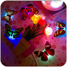 1PCS Creative Colorful Colorful Nightlight Nightlight Paste Button Type Decorative Lamp Butterfly(China)