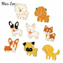 Miss Zoe Chiot Chien Langue Shiba Pomeranin Corgi Bouledogue Roquet Labrador Broche Bouton Broches Denim Veste Pin Badge Cartoon Bijoux