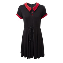 Gothic Dress Red Peter Pan Collar Chic Skull Button A-Line Casual Cotton Women Dresses Doom Dress(China)