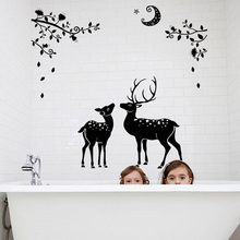 Wild Sika Deer Bathroom Wall Stickers For Kids Rooms Dining Bath Room Decoration Stikers Poster(China)