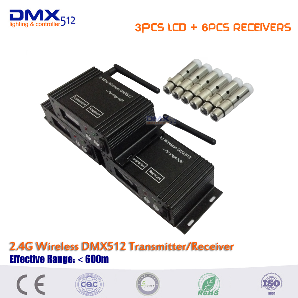 9 Pcs/lot Stage Bar Light Professional 6 Mini XLR Receiver +3 LCD Display Wireless Receiver Transmitter DMX 512 Equipment<br>