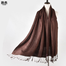 YI LIAN Brand New 11 Colors Women Cotton Scarf Solid Designer Scarves Fashion Cashew Pattern Shawl Top Quality JB011(China)
