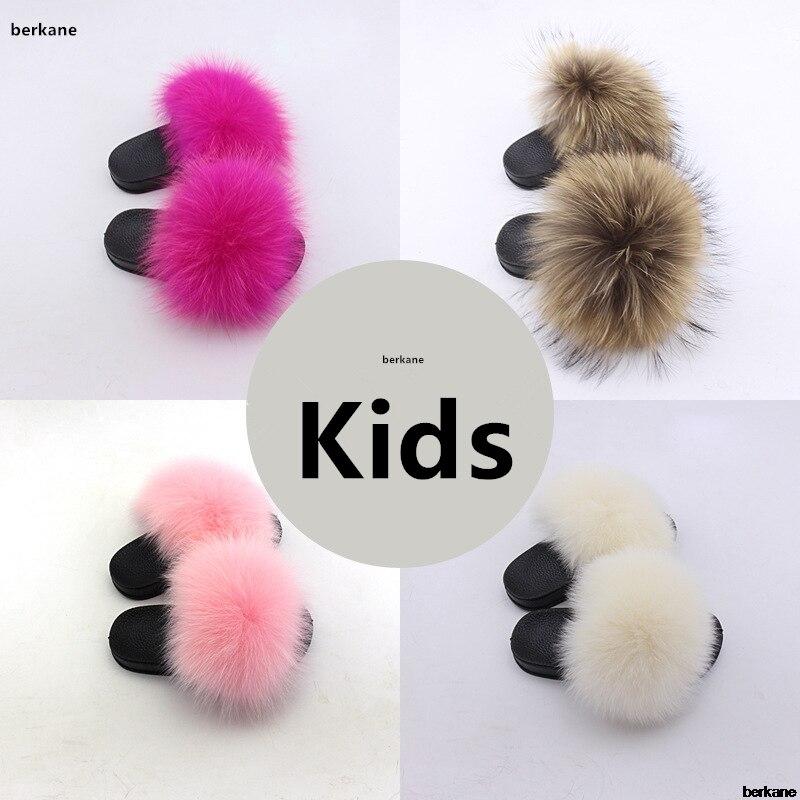 Real Fox Slippers Kids Winter Fur Child Home Slides Girl Flop Flips Raccoon Fluffy Cute Flats Beach Summer Children Boys Indoor