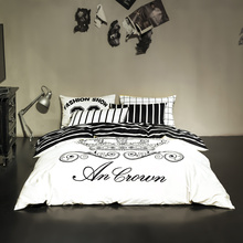 Fashion Bedding Set Black and White Striped Queen Size Cotton Bed Linen Brand Bed Set for Adults Bedroom Bedclothes Duvet Cover