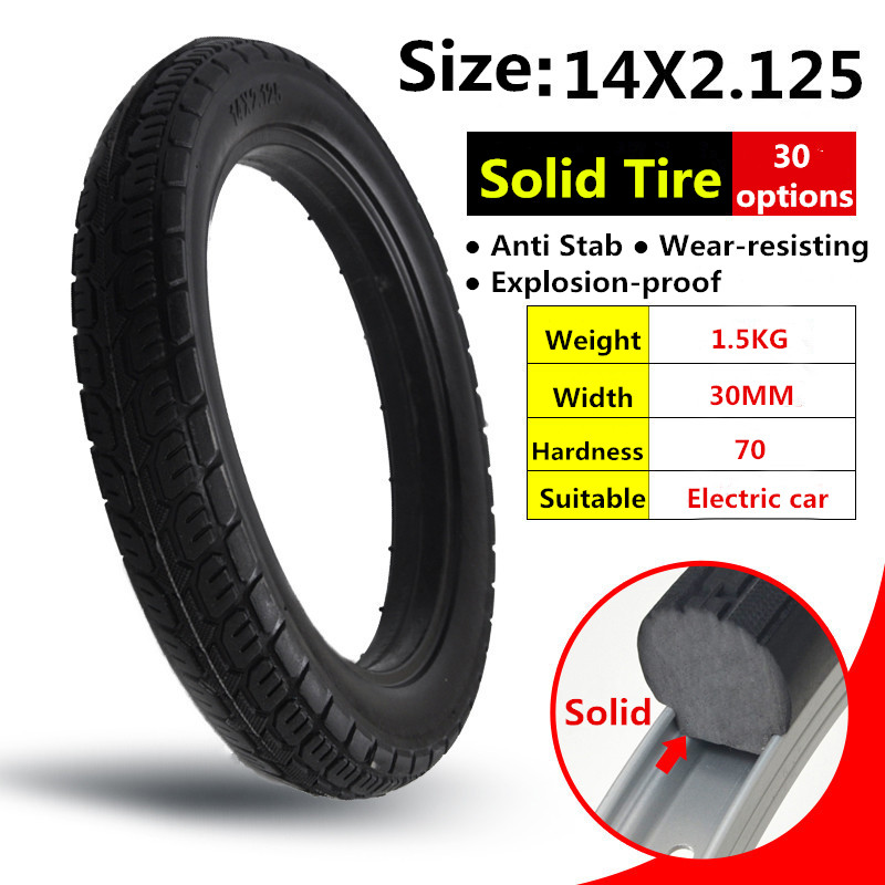 Top Selling Products Solid Rubber Electric tire 14*2.125 Electrombile Solid Tyre 14x2.125 Inflation-free Tire<br>
