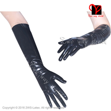 Sexy Black Elbow Latex Long Gloves Rubber Mittens Gummi Opera Length Gauntlet Five Fingers Rubber gloves latex gloves(China)