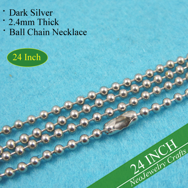 24 inch Dark Silver Ball Chain Necklaces, 60cm Antique Silver Ball Chain, Vintage Silver Bead Chain Necklace 24 Inch