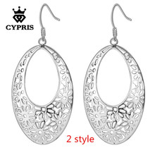 2017 Hot BIG Size wholesale price earrings Silver Flower drop Earrings big large size hot Factory Price women aretes de plata(China)