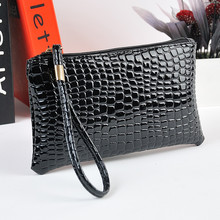 2016 Summer Style Women Fashion black Crocodile Leather PU Coin clutch Zip Around Wallet Card Holders Handbag Short Small Purse
