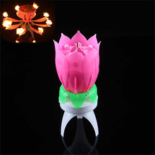 Romantic LED Candles Musical Beautiful Musical Lotus Flower Happy Birthday Candles For Cake Party Gift Candle Lights Decoration(Hong Kong)