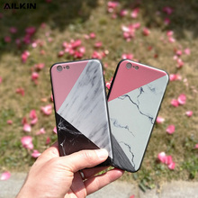 AILKIN Fashion Geometric Splice Pattern Marble Case For iphone 7 For iphone 7 6 6S Plus Phone Cases Funny Stone Back Cover