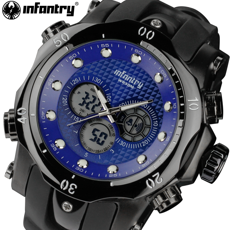 INFANTRY Watches Men Big Dial LED Display Luminous Dual Time Watches Rubber Strap Male Military Alarm Clock Relogio Masculino<br>
