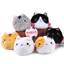 6Pcs/lot 7CM Kawaii Cartoon Black Cat Plush Stuffed TOY Soft Japenese Pendant Keychain Gift TOY DOLL Kids Toys