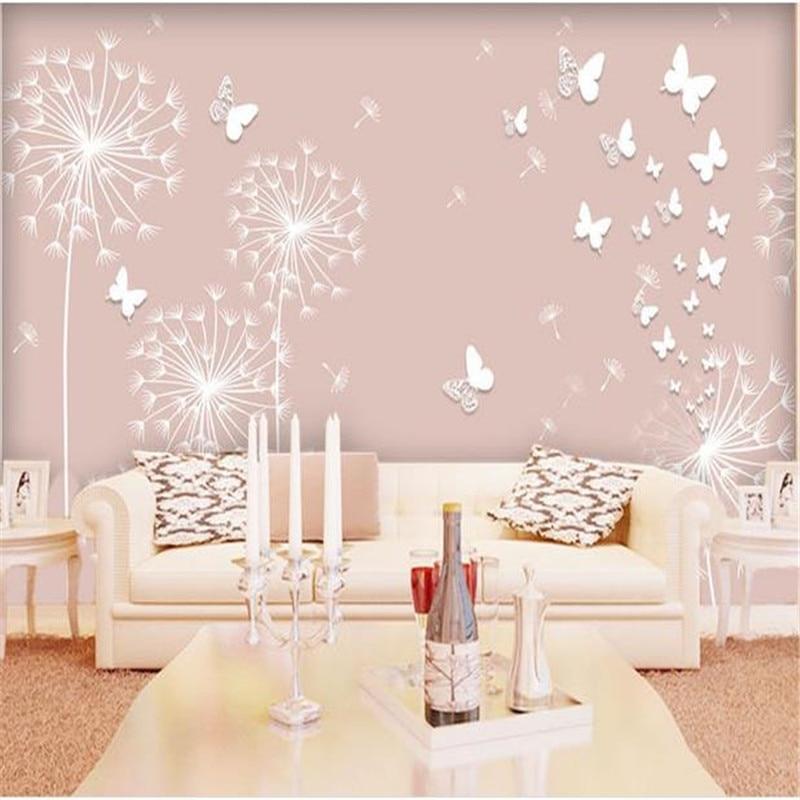 3D Stereoscopic Dandelion Wallpapers Pink Dandelion Children Room Wall Wallpaper For Kids Room Wallpaper Sofa Bedroom Sofa Mural<br>
