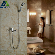 Free Shipping Single Lever Modern Shower Water Taps Wall Mounted Swivel Tub Spout + Hand Shower + holder + 150cm hose(China)