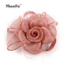 ShanFu Lady Girl Rosette Sinamay Fascinator Small Vintage Hessian Brooch Bridal Shower Hair Clip/Pin SFB6932