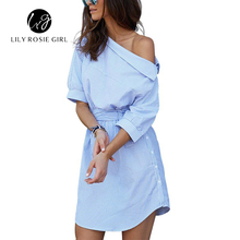 Lily Rosie Girl 2017 Blue Elegant Striped Slash Neck Women Dress Sashes Loose Casual Mini Summer Sexy Party Beach Shirt Dresses(China)