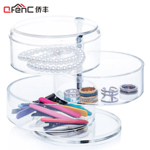 QFENC Premium Quality 3 Compartments Cylinder Jewelry Organizer Rotatable Plastic Headband & Hair Accessory Holder Storage Stand