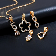 Romantic Style Love Forever Crystal Pendant Necklace 5 PCS Replaceable Pendant Flower Evil Hand Heart knot Charm Jewelry Lover