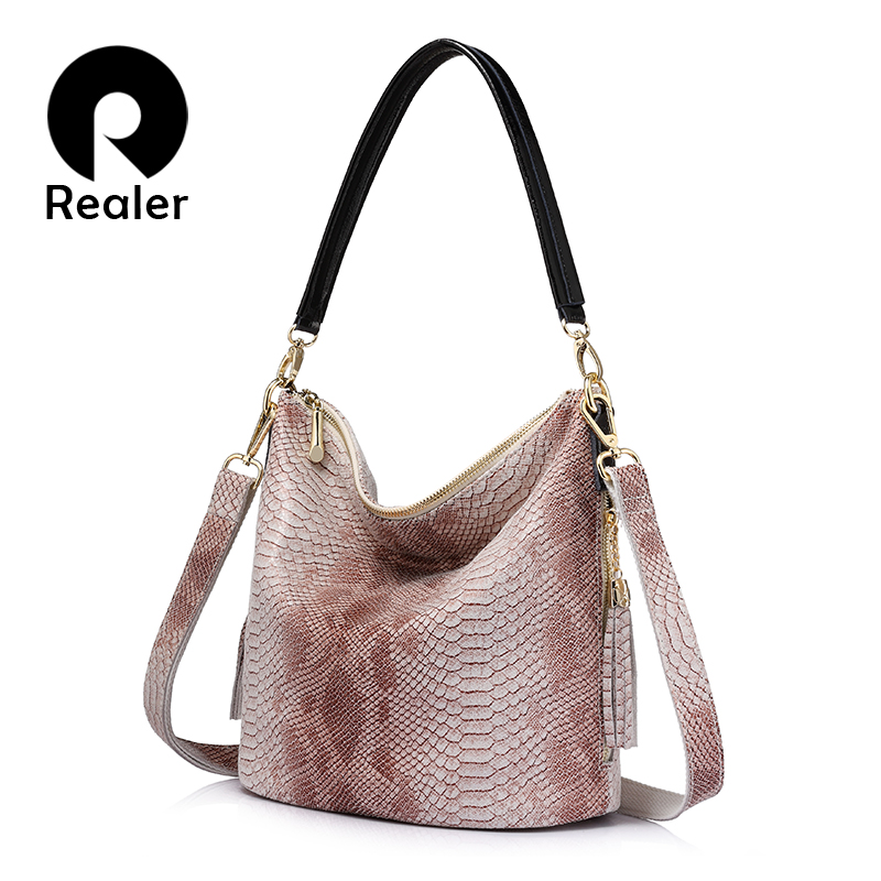 REALER brand new women genuine leather handbags serpentine Chain shoulder bag female casual crossbody bags with tassel tote bag<br>