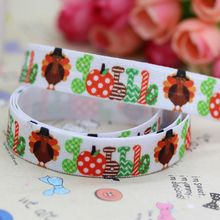 5/8'' Free shipping Fold Over Elastic FOE thanksgiving day turkey printed headband hair band diy decoration wholesale OEM B272