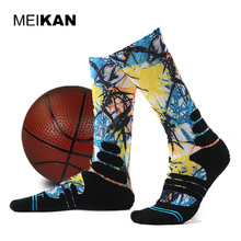 MEIKAN Men Printed Sport Socks Basketball Cycling Road Socks Compression Ankle Sokken Calcetines Ciclismo Hombre Basketball Sock(China)