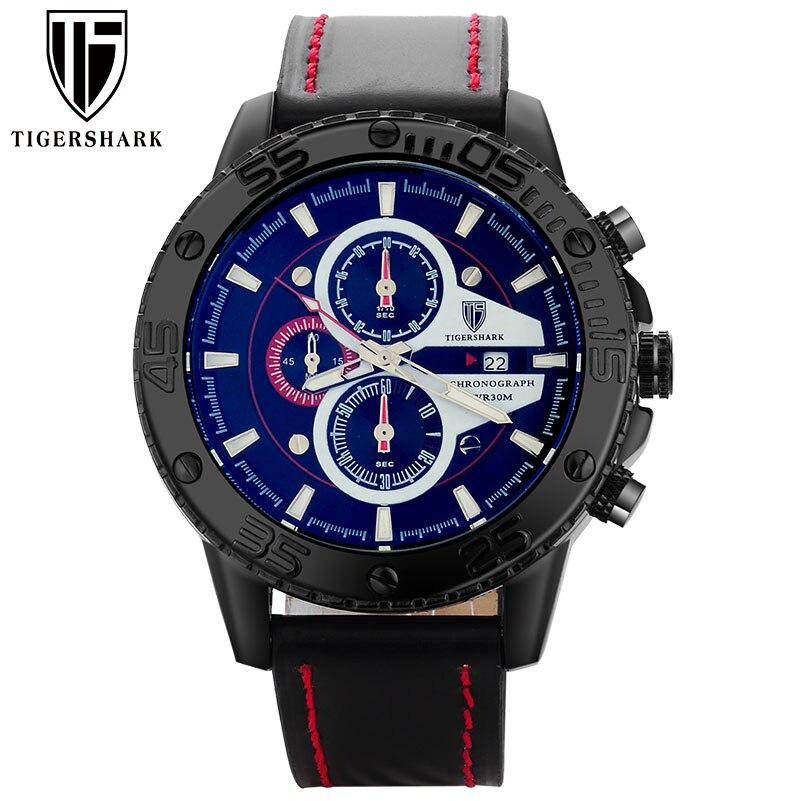 2017 TIGERSHARK popular brand luminous red dial watches men sport chronograph 30M waterproof date wristwatche genuine leathers<br><br>Aliexpress