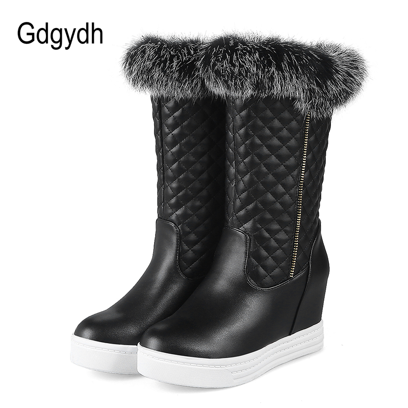 Gdgydh Big Size 34-43 Ladies Snow Boots Wedges Heels Women Winter Shoes Plush Inside High Heels Warm Boots Russian Cold Shoes<br>