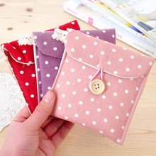Hot Sale Fashion Wave Point Design Cotton And Linen Material Sanitary Napkins To Receive Package Private Goods Receive Bag