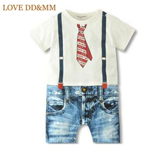 2017 New Summer Style Newborn Baby Rompers Boys Clothes Tie Strap Short Sleeves Cotton Overalls Pattern Jumpsuit Free Shipping