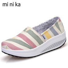 Buy MINIKA Striped Platform Women Flats Breathable Casual Driving Shoes Female Canvas Fashion Slip Women Flat Shoes 2017 SNE-773 for $17.34 in AliExpress store