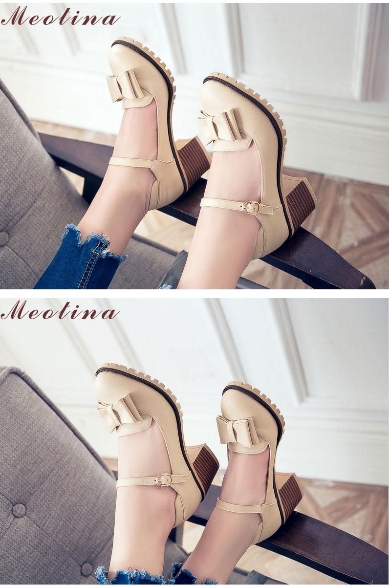 HTB19l7CRFXXXXbfXXXXq6xXFXXXd - Meotina Women Pumps Lolita Shoes Platform High Heels Pink Shoes Bow Mary Jane Ladies Sweet Party Shoes Size 33-43 Zapatos Mujer