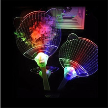 40pcs/lot Plastic LED changing color Flashing Hand Fanprops Light Up Colorful Handhed Fan on home party(China)