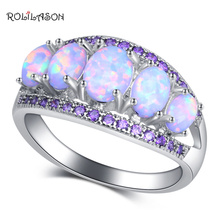 ROLILASON Exquisite gift White Fire Opal Purple crystal Fashion Jewelry for Women 925 Silver Rings USA Size #6#7#8#9#10 OR903