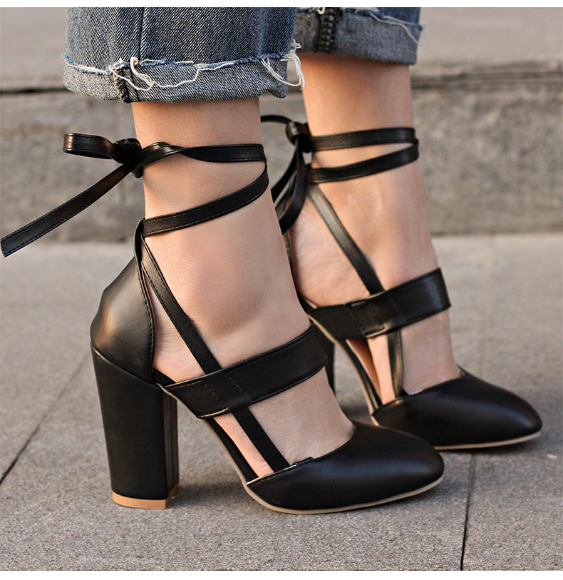 Women Pumps Comfortable Thick Heels Women Shoes Brand High Heels Ankle Strap Women Gladiator Heeled Sandals 8.5CM Wedding Shoes 8