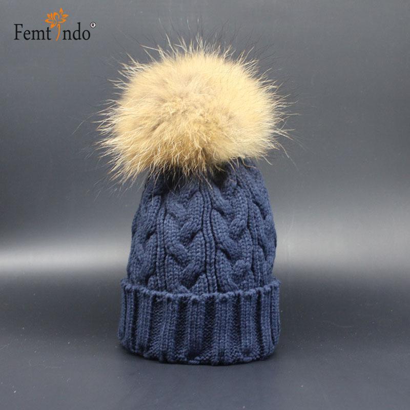 100% Real Raccoon Fur Wool Knitted Beanies Caps Gorro Animal Bonnet Enfant Winter Hats for Women 2016 Fur Pompoms Bonnet FemmeОдежда и ак�е��уары<br><br><br>Aliexpress