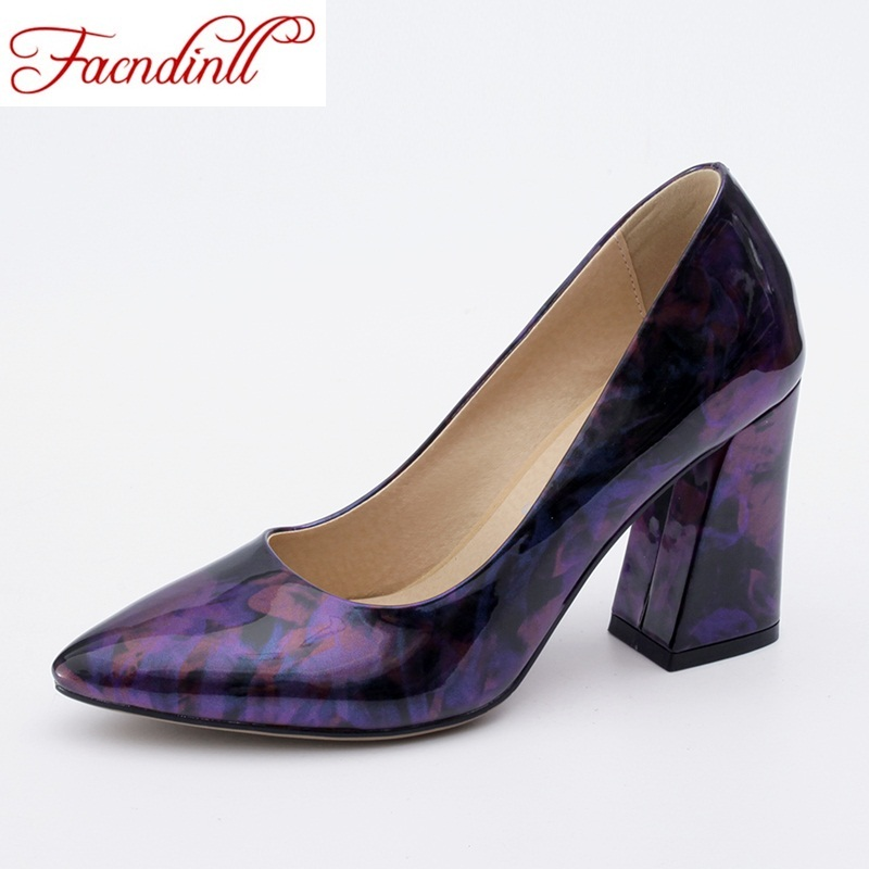 FACNDINLL new 2018 fashion patent leather shoes women pumps shallow high heels platform dress casual office shoes lady plus size<br>
