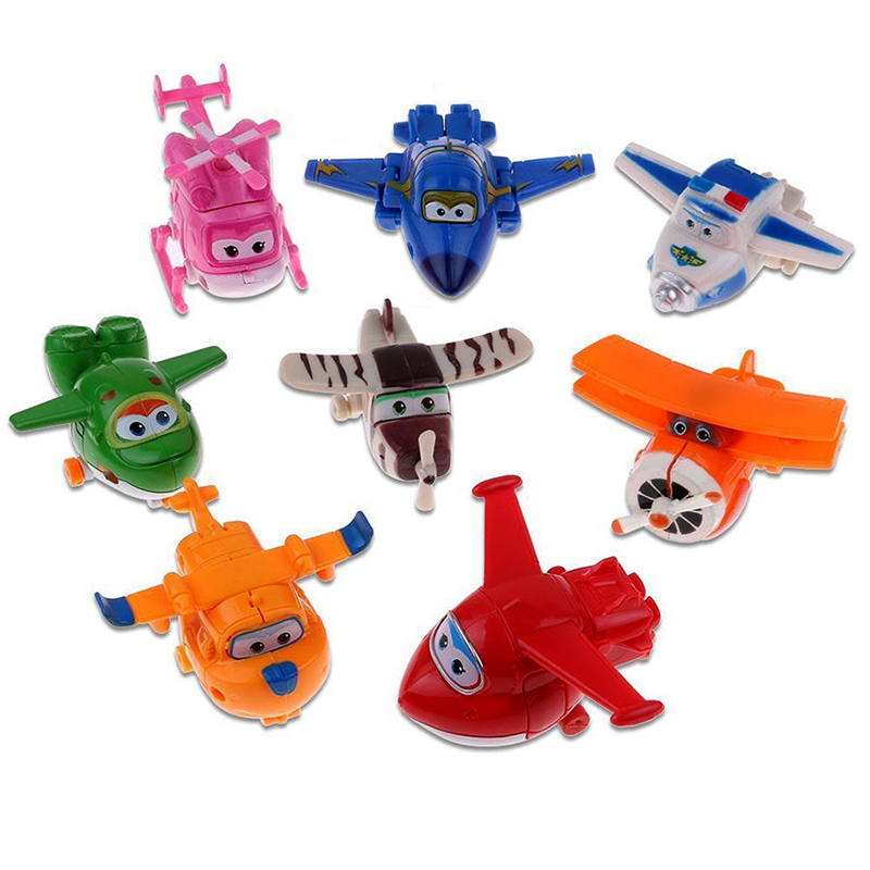 8pcs/set MINI Airplane Anime Super Wings Model toy Transformation Robot Action Figures superwings toys for Children Kids 17