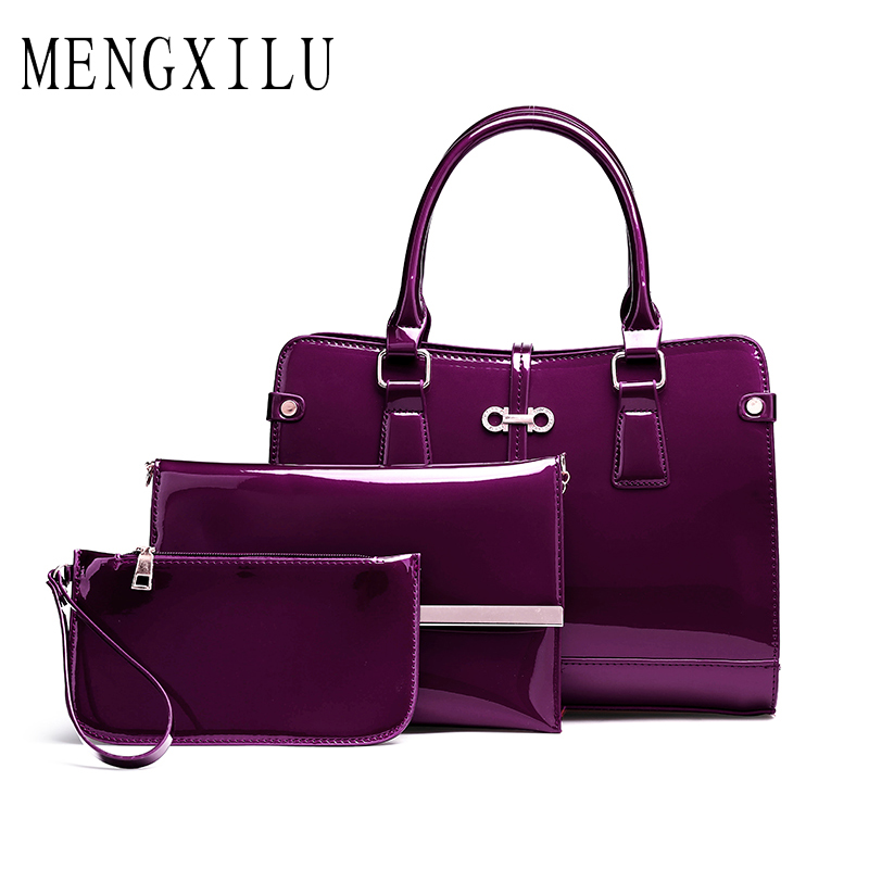 MENGXILU 3Pcs Luxury Handbags Women Bags Designer High Quality Patent Leather Women Bags Female Purse And Handbags Sac A Main<br>