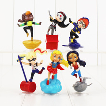 6pcs/lot 6.5-8cm Super Heroes Girls Superwoman Wonder Woman Catwoman Poison Ivy Harley Quinn Bumble Bee Superhero PVC Figure Toy