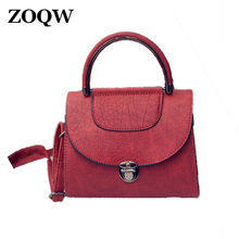 2017 New Fashion Red Wine Handbag Hot Crossbody Bags For Women Handbags Black PU Leather Bags Women Bag Shoulder Bags WUJ1068(China)