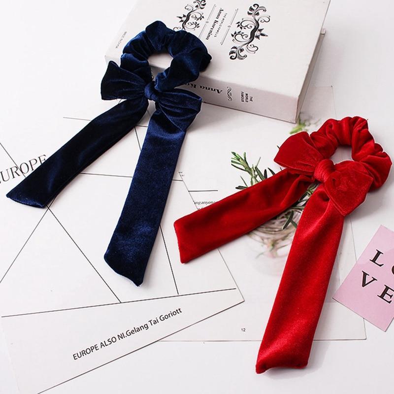 1pc Women Velvet Bow Streamer Scrunchies Hair Rope Tie Elastic Hair Bands Ponytail Holder Girls Hair Accessories