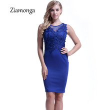 Ziamonga Summer Women Elegant Embroidery Floral Lace Dress Sexy Knee Length Party Work Business Sheath Vestidos Bodycon Dresses(China)