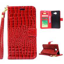 Leather Wallet Case For Samsung Galaxy A5 2016 Crocodile Design Cover Pouch For Samsung A5(2016) Flip Case With Wrist Strap(China)