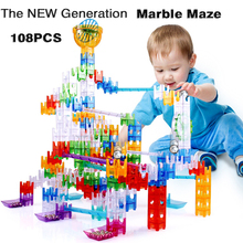 108PCS Rails Builder Set Marble Run Cube Building Blocks amaze with Cubes Maze Balls Marble Maze Educational Toys For Children