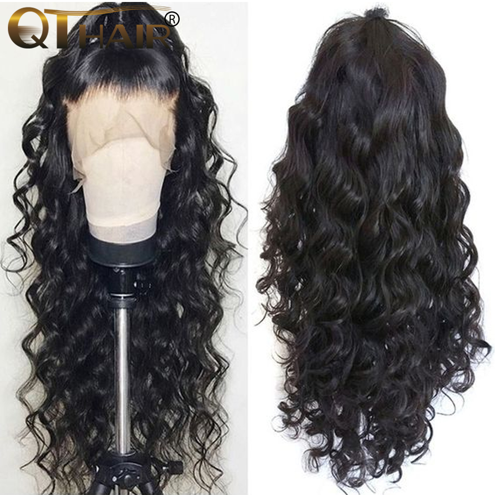 Lace Frontal Wigs Brazilian Body Wave long Lace Front Human Hair Wigs Pre Plucked With Baby Hair For Women QT Remy Hair(China)
