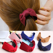 Hot Sales Korean Hair Claw Solid Big Bows Banana Hairpins Ties Ponytail Headband Hair Clips Hair Accessories For Women Girls(China)