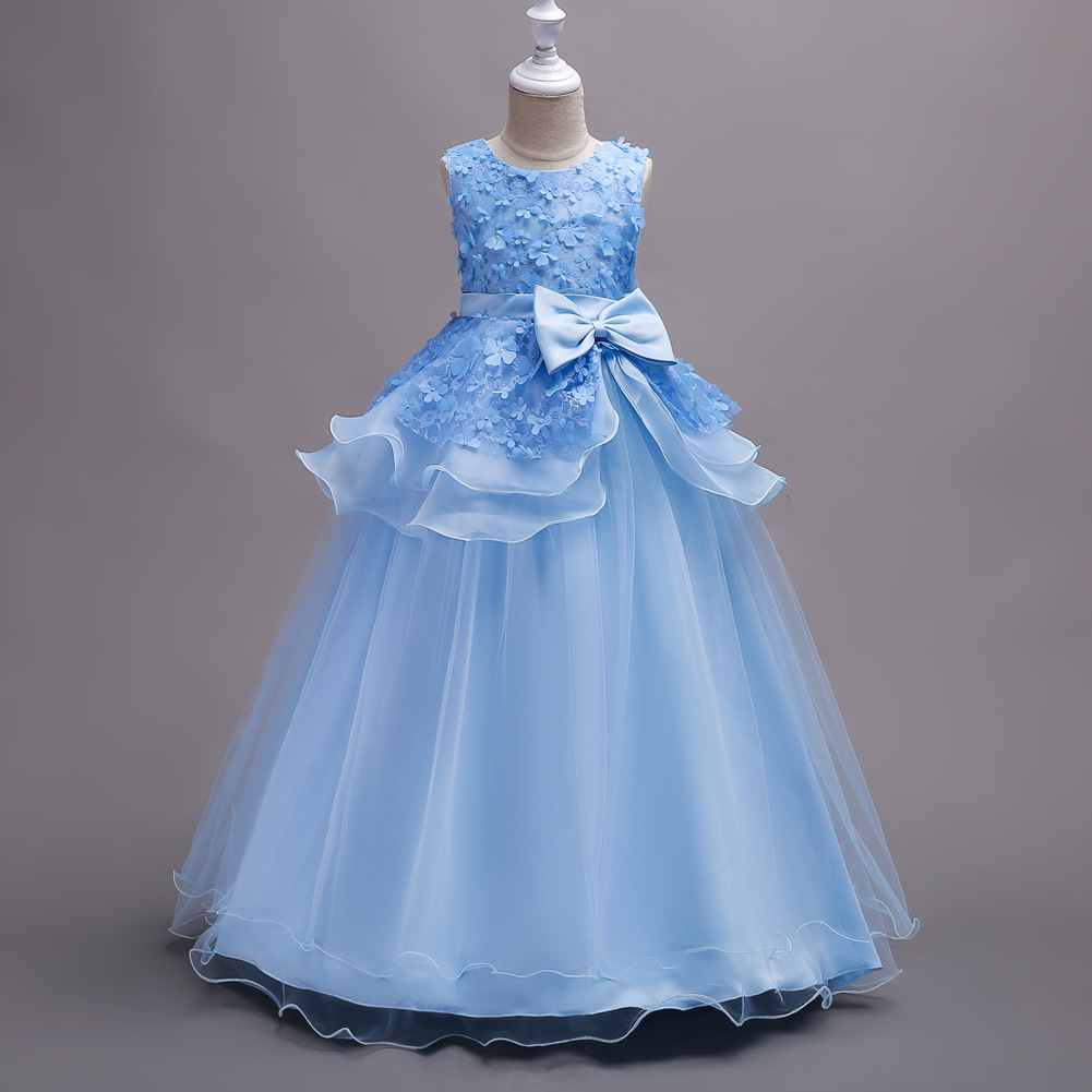 Children Performance Clothes Princess Flowers Formal Kids Pregnant Evening Ball Gown Purple Mint Sky Blue Wedding Dress<br>